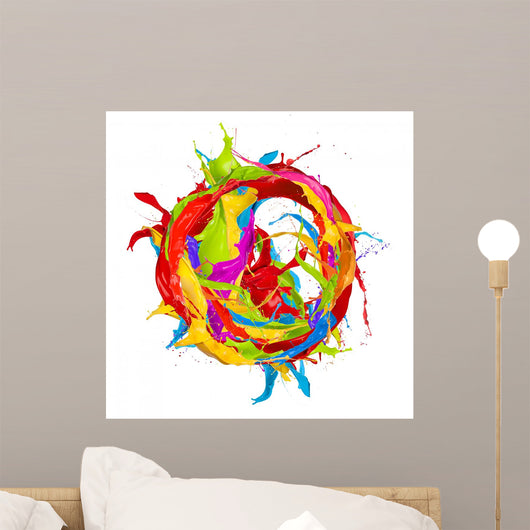 Colored paints splashes circle, isolated on white background Wall Decal