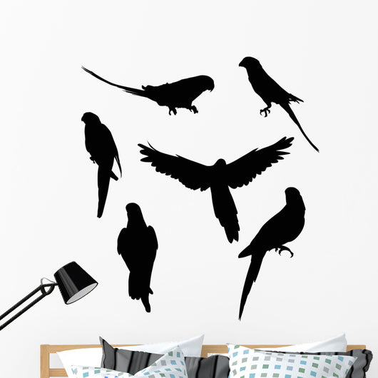 Six Parrot Silhouettes Collection Wall Decal Sticker Set