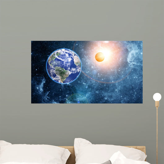 Earth and moon in space Wall Mural