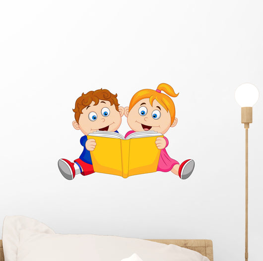 Children reading a book Wall Decal