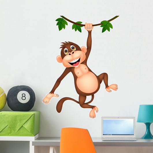 Cute monkey cartoon hanging Wall Decal