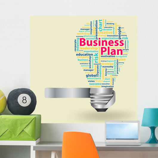 Light bulb with Business plan concept of word cloud Wall Mural