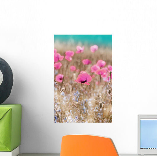 Pink Poppies Wall Mural