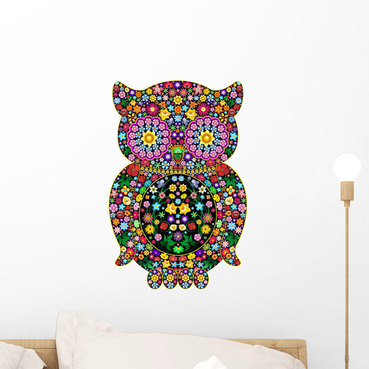 Owl Flowers Ornamental Design-owl-Ornamental Flowers Vector Wall Decal