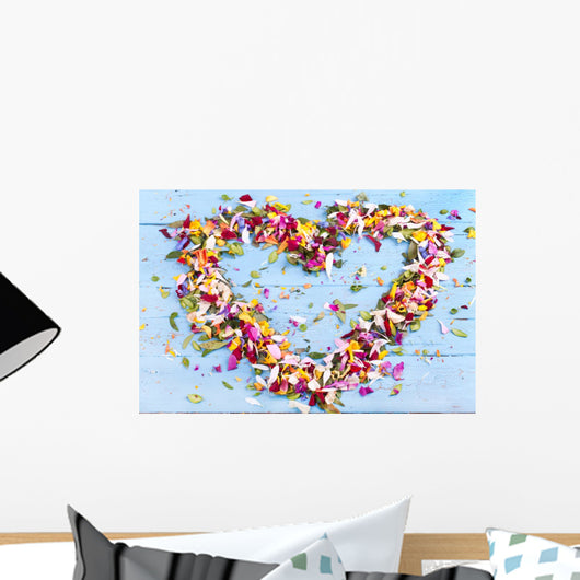 Heart from petals Wall Mural