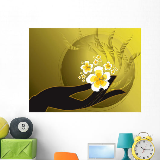 Buddhas Hand and White Hibiscus Wall Mural