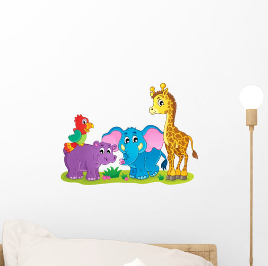 Cute African Animals Theme Wall Decal