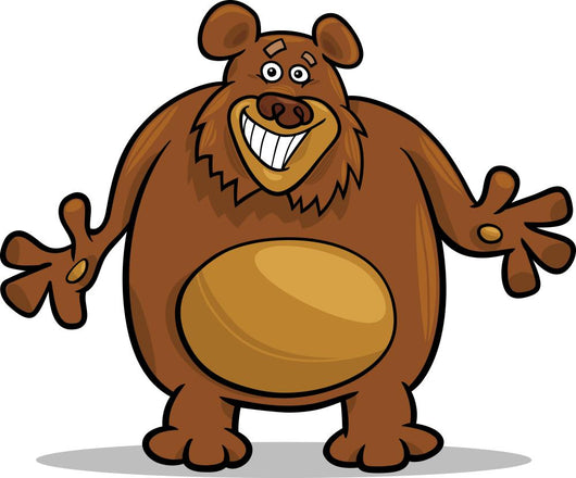 brown bear cartoon illustration Wall Decal