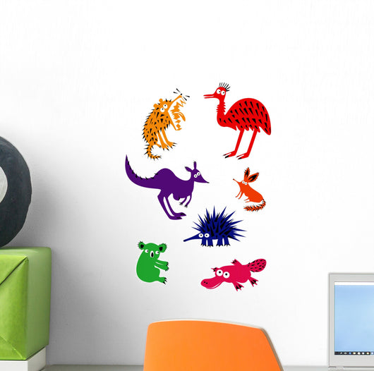 Set of Funny Australian Animals Wall Decal