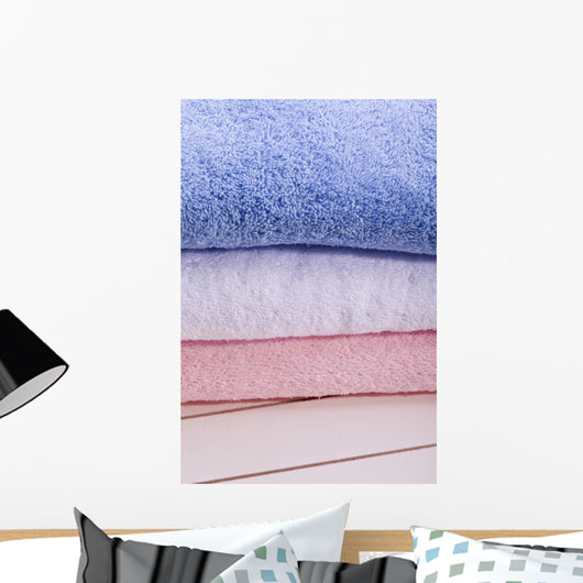 Blue White and Pink Towel in Bath Wall Mural