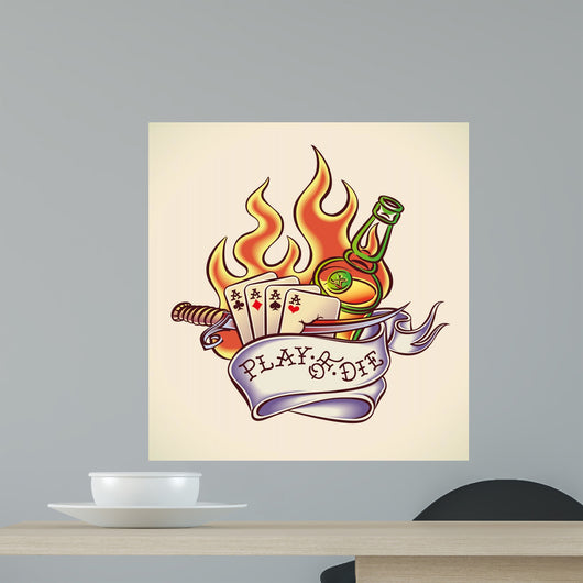 Play of Die - Tattoo Design Wall Decal