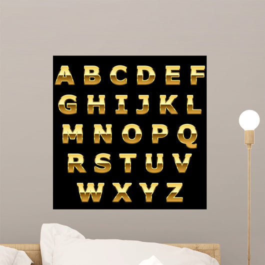 Golden metallic shiny letters Wall Mural