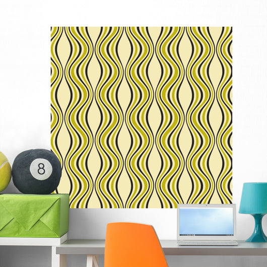 Abstract Retro Curves Wall Mural