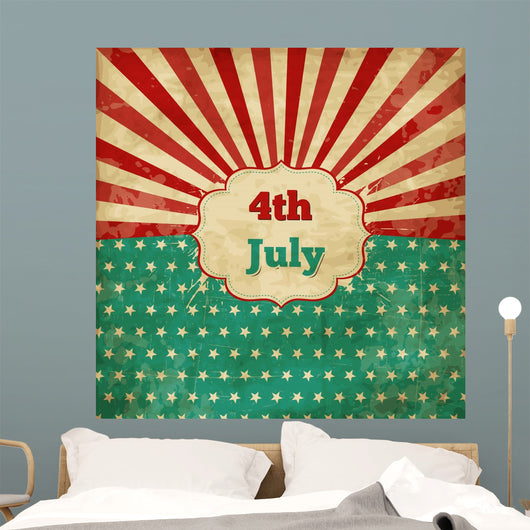 Vintage template for 4th of July with stars and lines Wall Mural