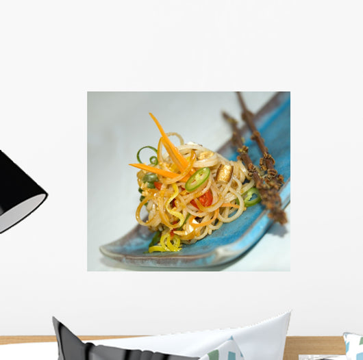 Pasta on a Square Japanese Plate Wall Mural