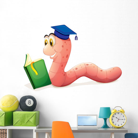 A Worm Reading Wearing a Graduation Cap Wall Decal