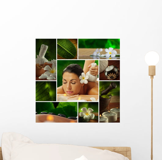 Spa Theme  Photo Collage Composed of Different Images Wall Mural