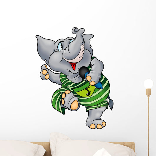 Elephant with Microphone Wall Decal