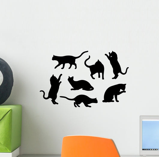 Seven Cat Silhouettes Wall Stickers