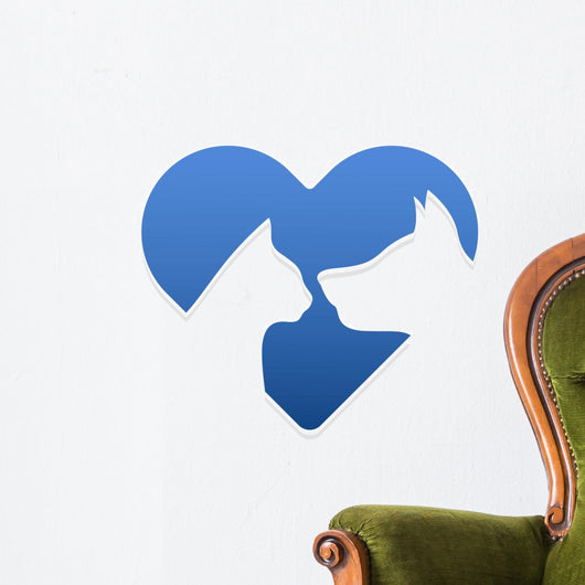 Cat and dog heart sign Wall Decal
