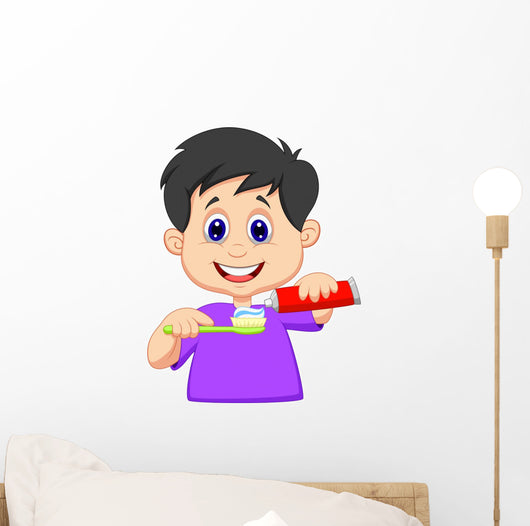 Kid squeezing tooth paste on a toothbrush Wall Decal