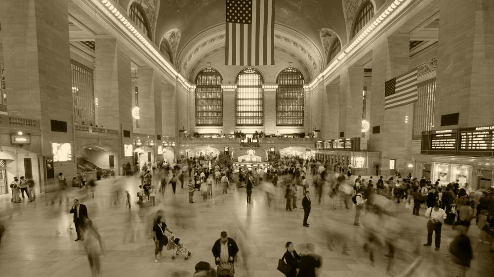 Fast Crowd Moving in Grand Central Station Wall Mural