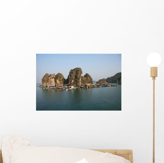 Floating village in Halong Bay in Vietnam Wall Mural