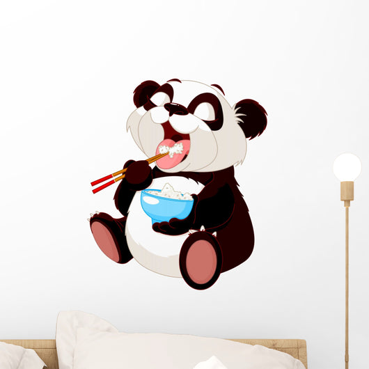 Cute panda eating rice Wall Decal