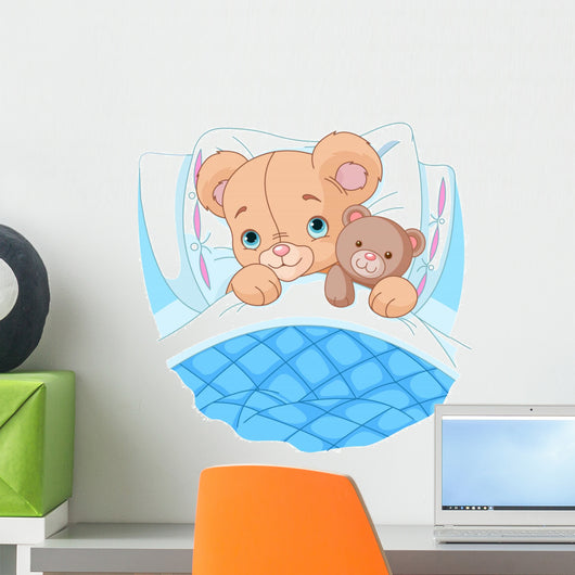 Cute baby bear in bed Wall Decal