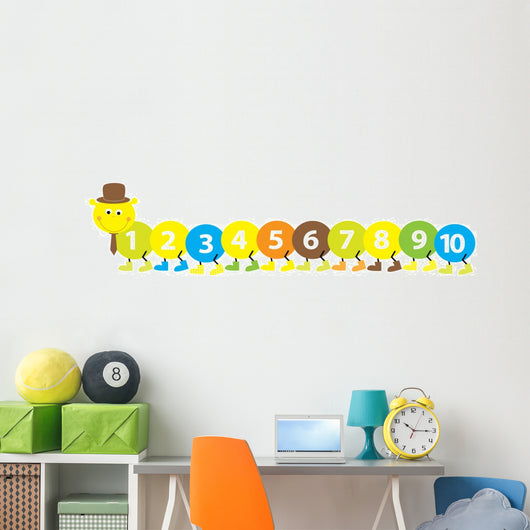 maths caterpillar with numbers 1-10_ vector illustration Wall Decal