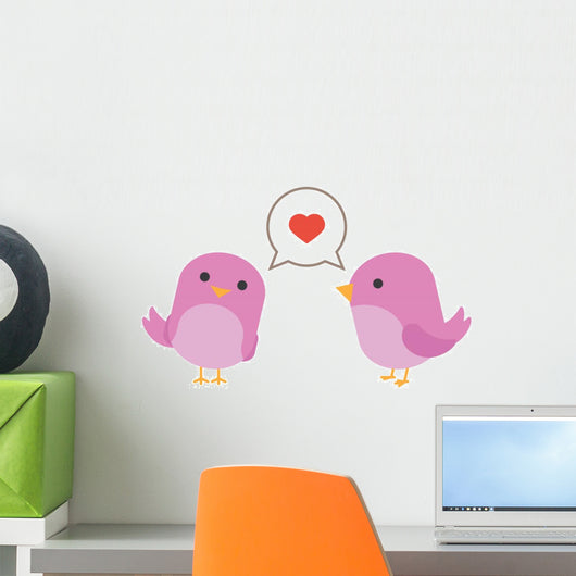 Birds Love with Hearth Wall Decal