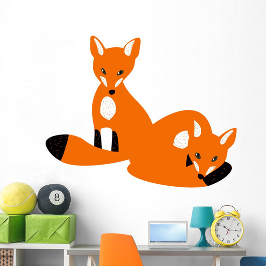 Two Red Baby Foxes Wall Decal