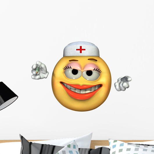 Nurse Emoticon Wall Decal
