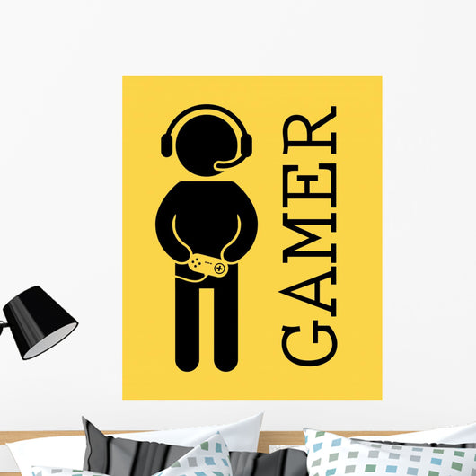 Gamer Caution Symbol Wall Decal