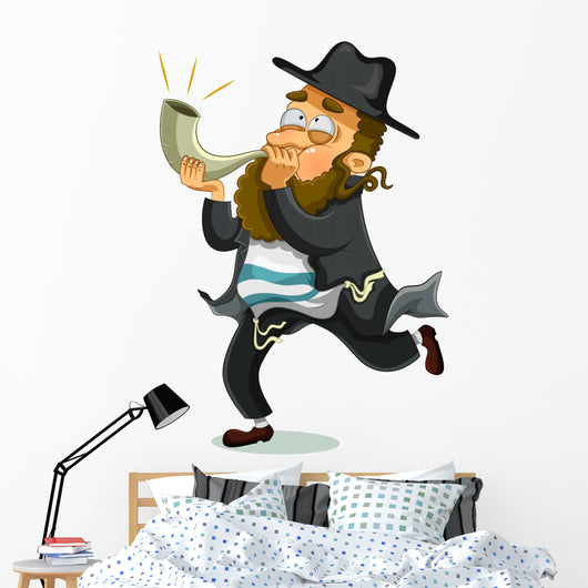 Orthodox Jewish Man Shofar Wall Decal