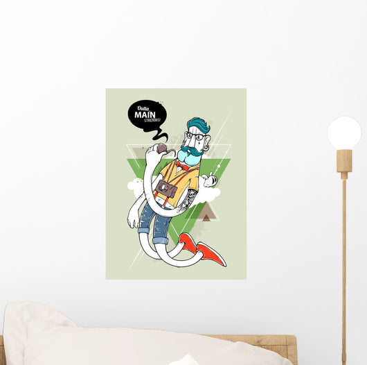 Hipster Graffiti Character - Outta Main Streams Wall Decal