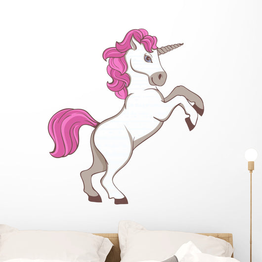 White Unicorn with Pink Wall Decal
