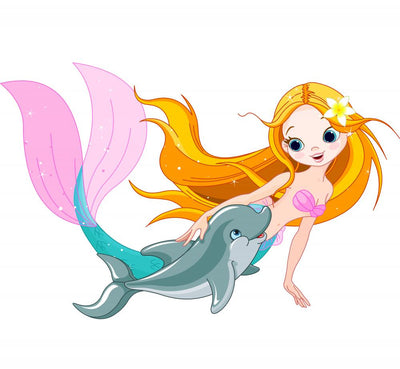 Cute Mermaid and Dolphin Wall Decal