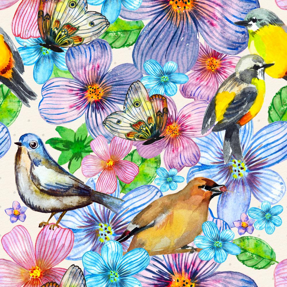 Floral Watercolor Bird Wall Decal Wallpaper Tile Wall Decal