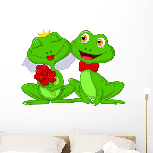 Bride and Groom Frogs Wall Decal