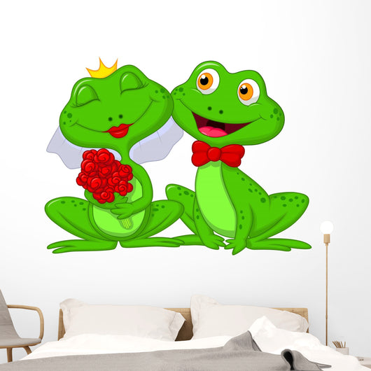Bride and Groom Frogs Cartoon Characters Wall Decal