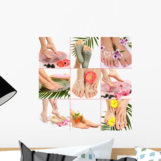 Collage of spa with beautiful legs Wall Mural