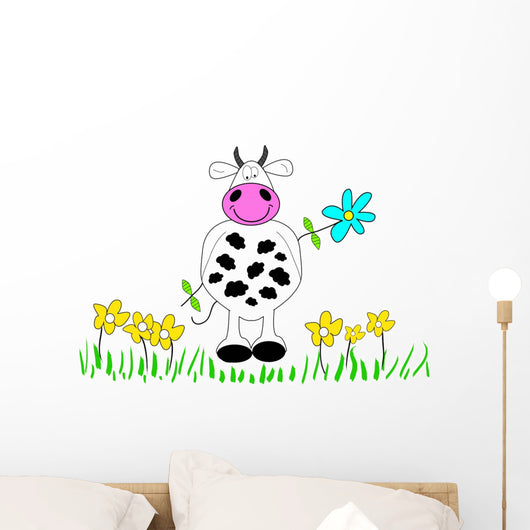 Cow and Flowers Wall Decal