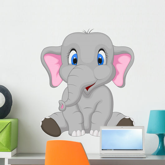 Cute Elephant Sitting Wall Decal