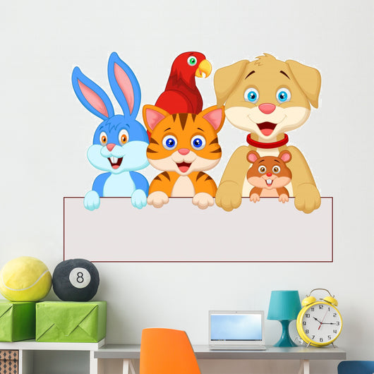 Pet Animals Holding Blank Paper Wall Decal