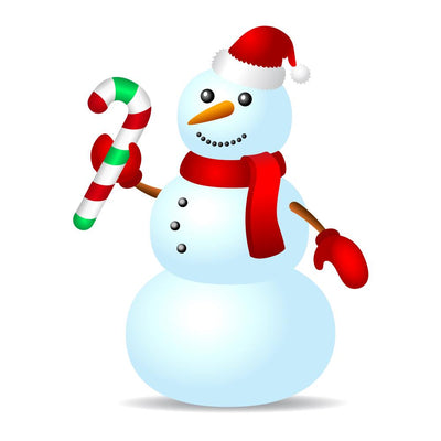 Traditional Snowman with Candy Cane Wall Decal