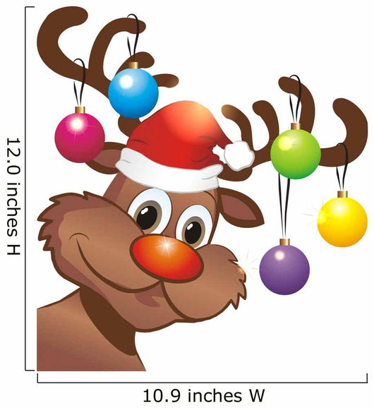 Rudolph Reindeer with Santa Hat and Christmas Baubles Wall Decal