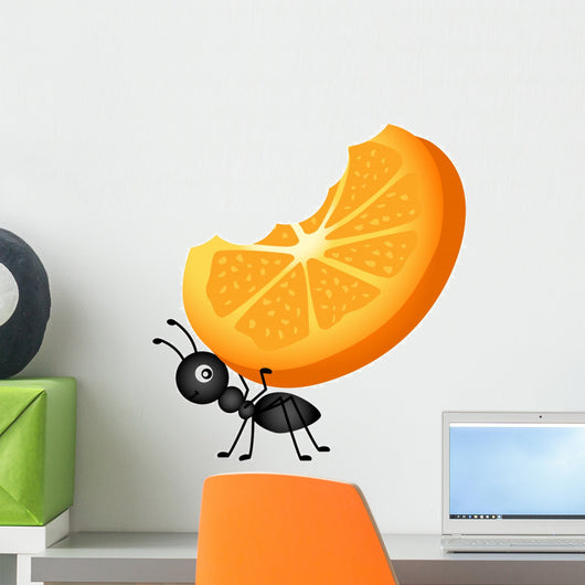 Ant Carrying Orange Slices Wall Decal