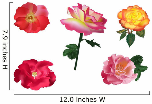 Collection of Five Roses Wall Decal