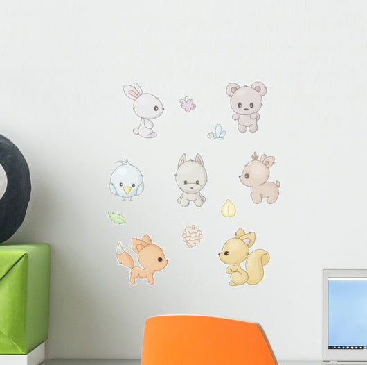 set of cute forest animals Wall Decal